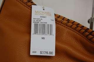 NWT MICHAEL KORS Bennet Large Leather Shoulder Tote Handbag Tan Brown