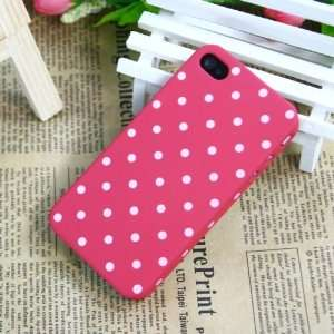 Dark Pink / Polka Dot Pattern Plastic Case for Apple iPhone 4+free