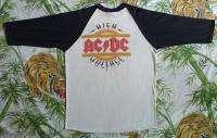 AC/DC Vintage Concert SHIRT 80s TOUR T RARE ORIGINAL Baseball JERSEY