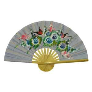 Hand painted Purple Folding Decorative Wall Fan   Bird & Flower Design