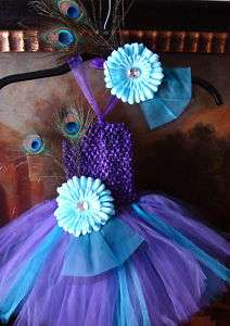 tutu dress headband peacock feather bow baby & girl