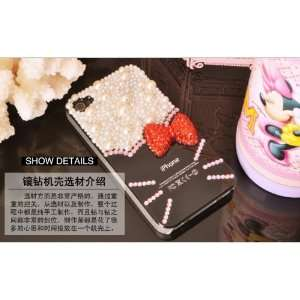 3d Crystal& Pearl Hello Kitty Pattern Case for Iphone 4&4s