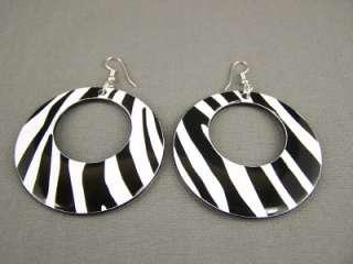 Black White zebra stripe pattern dangle disc earrings 3 long 2.25