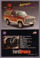 1986 FORD BRONCO EDDIE BAUER 4x4 Car Picure Fac Card |
