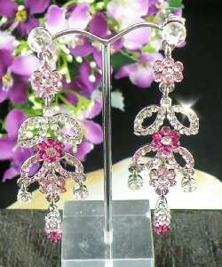 Beautiful Pink & Clear Swarovski Crystals Dangle Earrings E426