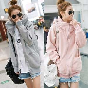 Hood Pockets Warm Thick New Korea Women Casual Zip Hoodie Sweats Coat
