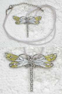 CLEAR RHINESTONE CRYSTAL DRAGONFLY PENDANT NECKLACE F162