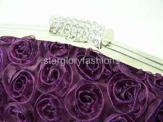 Purple Roses Wedding Handbag Purse Clutch Lot Crystal