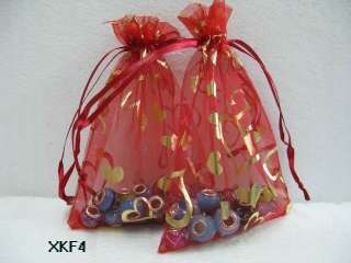 love Heart Organza Wedding Favor gift Bags 5 color 4x6