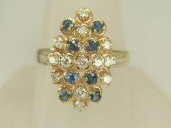 Vintage Yellow Gold Blue Sapphire & Diamond Cocktail Ring