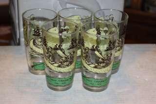 Vintage (5) 1950s Davy Crockett Walt Disney Character Drinking Glass
