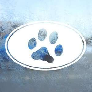 Dog Paw Print Euro Ovel White Decal Laptop Window White