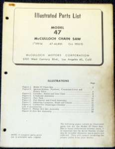 McCulloch Model 47 Chain Saw Parts List   Parts Manual