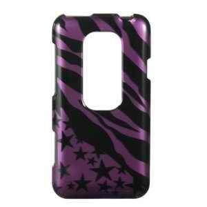 HTC EVO 3D (Sprint) Black Purple Zebra Stars Premium Snap On Phone