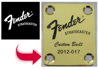 PLATED Custom Engraved Neck Plate   4 Hole Fender Guitar Style
