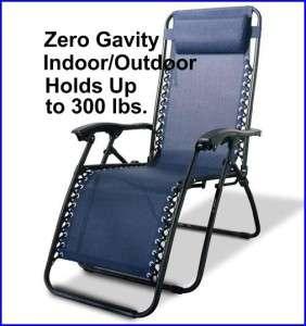 Blue Zero Gravity Mesh Lawn Lounge Chair Recliner Indoor/Outdoor