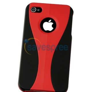 Red/Black 3 Piece Cup Hard Case+PRIVACY LCD FILTER for VERIZON iPhone