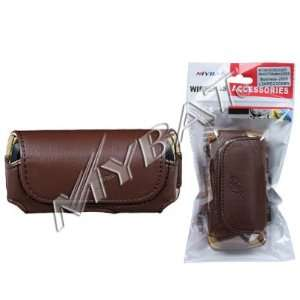 High Quality Brown Leather Horizontal Stylish Carry Case
