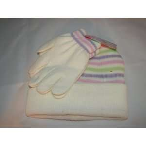 com Girls/Womens knitted warm winter stocking hat and gloves set cold