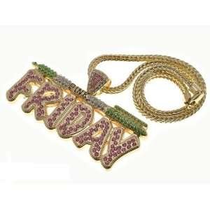 NICKI MINAJ BARBIE Pink Friday Pendant Chain Gold Pink/Green Jewelry