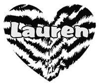 Personalized Zebra Stripe Heart Girls Name Vinyl Wall Decal Sticker