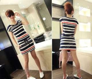 Brand New Womens Round Neck Navy Strip Slim Short Sleeve T shirt