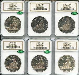 1873 1883 $1 Full Set of Eleven Proof Trade Dollars PF 62 64