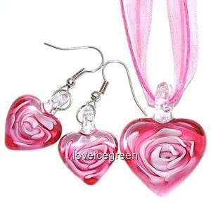 Pink Heart Lampwork Murano Glass Bead Pendant Ribbon Necklace Cord