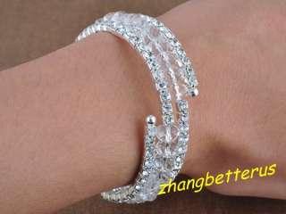 Clear crystal Rhinestone silver plated adjustable bracelet bangles