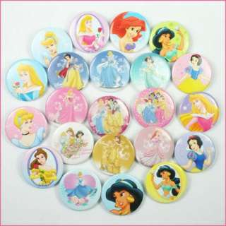 Princess Pins Buttons Badges for Girls Birthday Favors Gifts
