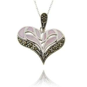 Sterling Silver Pink and Marcasite Heart Pendant Jewelry