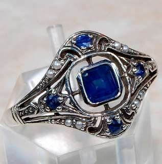 Natural Sapphire Seed Pearl 925 Sterling Silver Victorian Style Ring