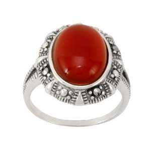 Sterling Silver Marcasite Oval Carnelian Ring, Size 5