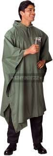 Olive Drab Military Rip Stop Nylon Poncho 613902486508