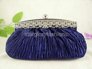 Blue ROYAL CRYSTAL FRAME Wedding Purse Clutch & 4 Colors ECR 068287