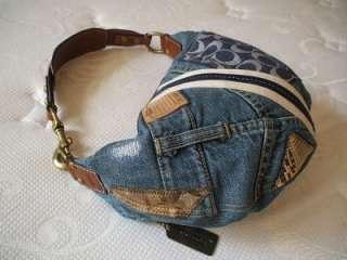 Coach Ltd ed Denim Distressed Jeans Patchwork SM Hobo Tote Bag Purse