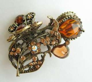 VARY COLORS SWAROVSKI BIG BRONZE TULIP HAIR CLAW CLIP 862 VINTAGE