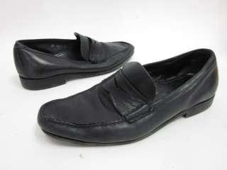 AUTH PRADA Mens Black Leather Loafers Dress Shoes Sz 6