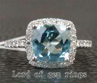 Natural 1.95ct Aquamarine & Diamond 14K White Gold Ring