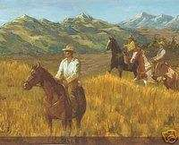 Western Roundup Wallpaper Border / Cowboys Horses Cows
