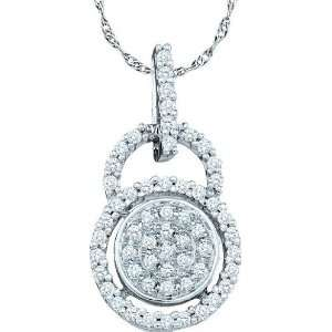 10k White Gold 0.20 Dwt Diamond Fashion Pendant