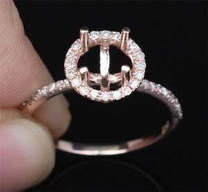 Cut 14K ROSE GOLD Pave .22ct DIAMOND Engagement Halo SEMI MOUNT RING