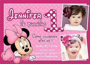 Baby Minnie Mouse Birthday Party Invitation YOU PRINT