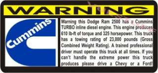 DODGE RAM 2500 CUMMINS TURBO DIESEL Warning 2005,2006