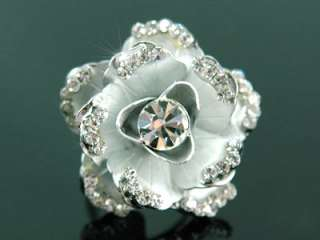 3D Rose Ring use Swarovski Crystal SR044 w/ Gift Box