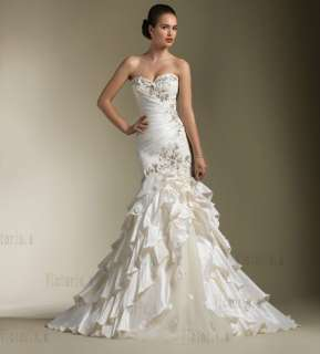 Ivory Lace Mermaid Bridal Wedding Dresses Gowns Size 4 6 8 10 12 14 16