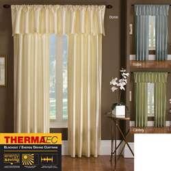 Treasure Thermal backed Dupioni Faux Silk Curtain Panel Pair