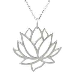 Sterling Silver Cut out Lotus Flower Necklace  Overstock