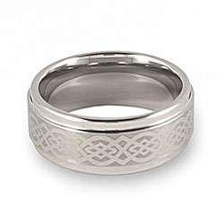 Mens Tungsten Lasered Celtic Knot Ring (9 mm)