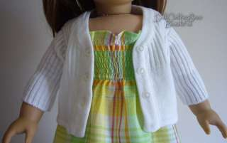 Doll Clothes fits American Girl White Cardigan Sweater